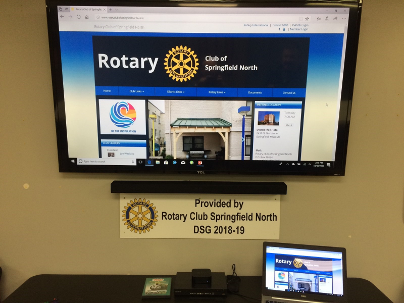 Installed equipment showing the Springfield Rotary North website.